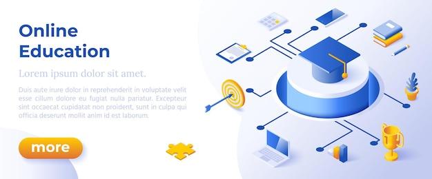 Online onderwijs - isometrisch ontwerp in trendy kleuren isometrische pictogrammen op blauwe achtergrond. sjabloon voor bannerlay-out voor websiteontwikkeling