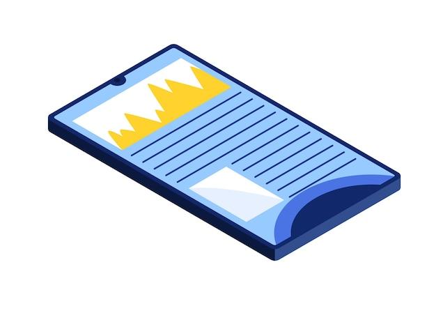 Online onderwijs isometrisch op tablet. e-learning thuis voor student. afstandsonderwijs in virtuele omgeving vectorillustratie