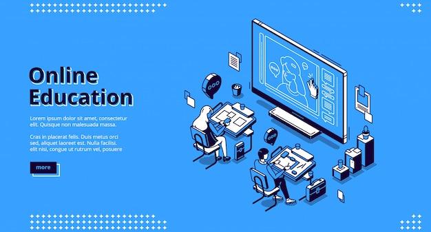 Online onderwijs isometrische bestemmingspagina webbanner
