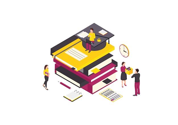 Online onderwijs isometrische kleur illustratie