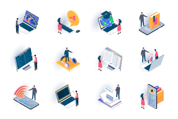 Online onderwijs isometrische pictogrammen instellen. afstandsonderwijs met digitale apparaten, online cursussen en webinars vlakke afbeelding. internetbibliotheek 3d isometrie pictogrammen met personages karakters.