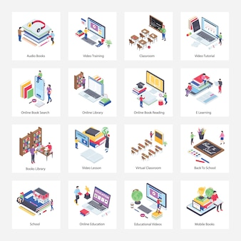 Online onderwijs isometrische pictogrammen pack