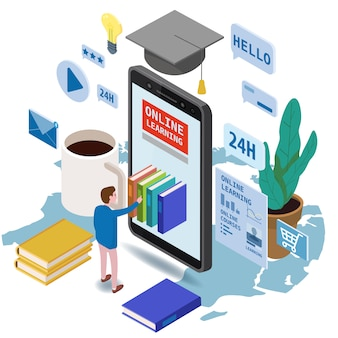 Online onderwijs isometrische set pictogrammen samenstelling met kleine man die boeken van smartphone