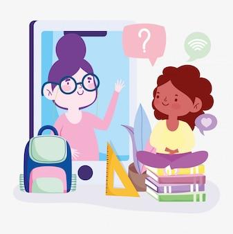 Online onderwijs, leraar en student meisje smartphone boeken en rugzak