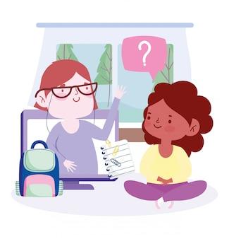 Online onderwijs, leraar en student meisjescomputer rugzak, website en mobiele trainingen