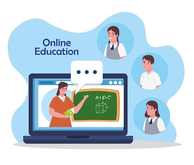 Online onderwijs, leraar in laptop en studenten, online leren