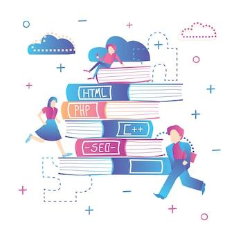 Online onderwijs. leren webdesign, codering en seo. vectorillustratie. stapel boeken met mensen.