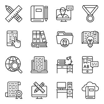 Online onderwijs lijn iconen pack