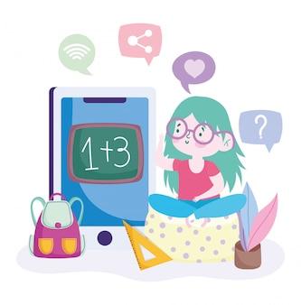 Online onderwijs, meisje wiskunde studeren in smartphone, website en mobiele trainingen