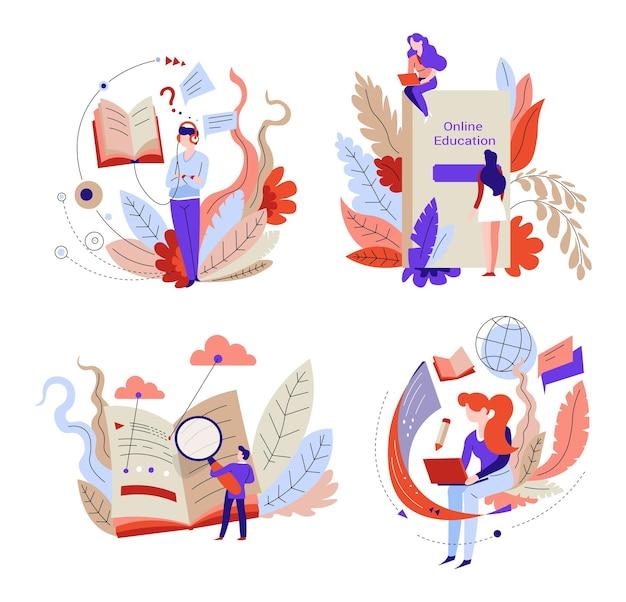 Online onderwijs met behulp van internet en boeken vectorbeelden