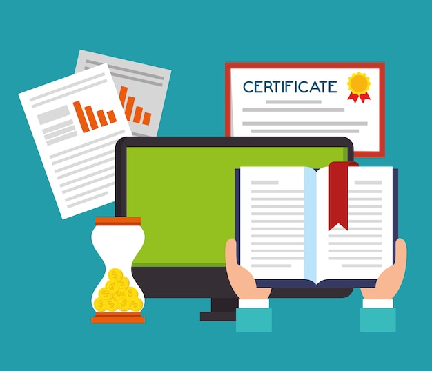 Online onderwijs met desktop-display