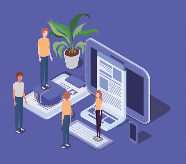 Online onderwijs met desktop- en minimensen