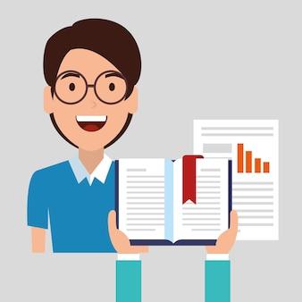 Online onderwijs met e-boek en set-iconen