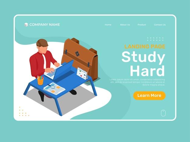 Online onderwijs met karakter dat hard studeert op de laptop. isometrische bestemmingspagina illustratie sjabloon.