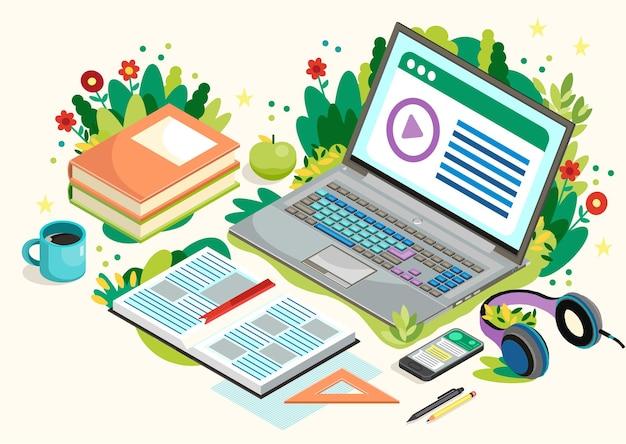 Online onderwijs met laptop. afstand leren. illustratie.