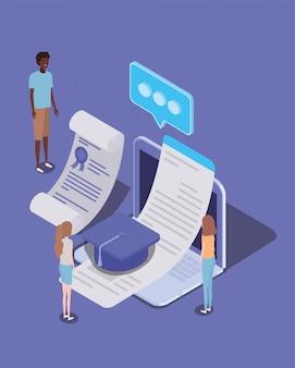 Online onderwijs met laptop en mini-mensen