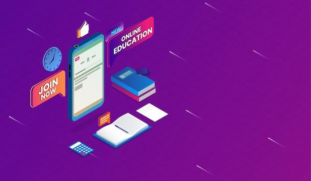 Online onderwijs met smartphone concept