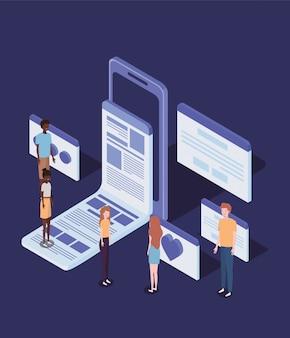 Online onderwijs met smartphone en mini-mensen
