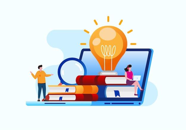 Online onderwijs met smartphone platte vectorillustratie voor banner en bestemmingspagina