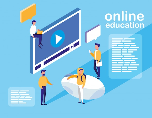 Online onderwijs met weergave van mediaspeler en minimensen