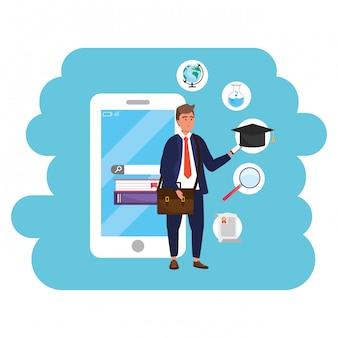 Online onderwijs millennial student gebruikend smartphone