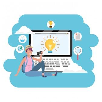Online onderwijs millennial student laptop