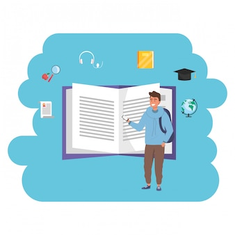 Online onderwijs millennial student open boek