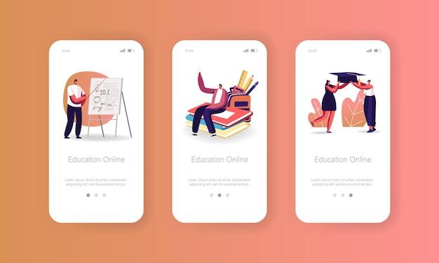 Online onderwijs mobiele app-pagina onboard-schermsjabloon. personages bekijk videocursussen. studenten leren internet kijken lessen op pc