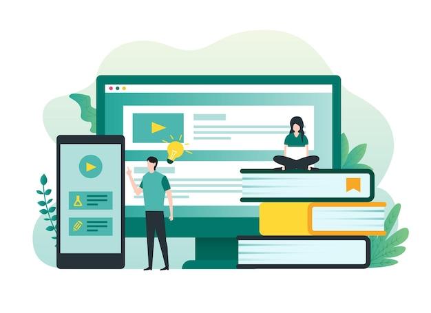 Online onderwijs of e-learning en online cursussen concept