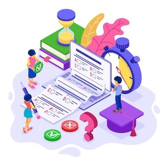 Online onderwijs of examentest op afstand met isometrische karakter internetcursus e-learning vanuit huis meisje en jongen onderzoeken en testen op laptop