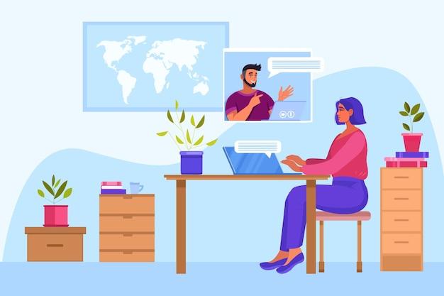 Online onderwijs of internettraining illustratie met jonge student, mannelijke tutor. virtuele ontmoeting