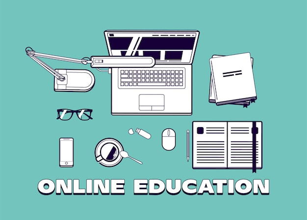 Online onderwijs of online cursussen concept illustratie