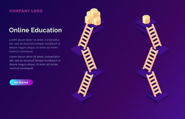 Online onderwijs of training isometrisch concept