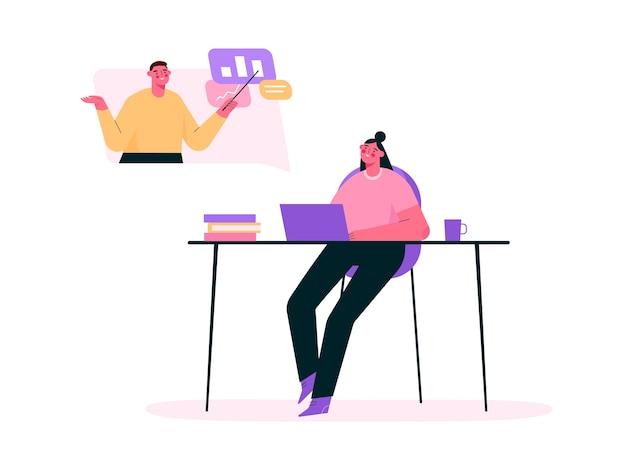 Online onderwijs of werk op afstand in plat ontwerp