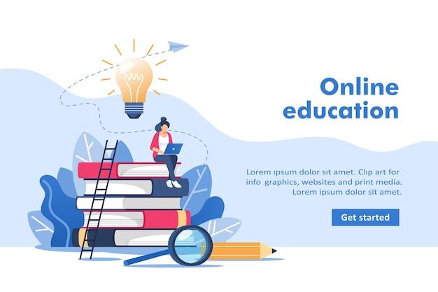 Online onderwijs of zakelijke training voor mobiele en webafbeeldingen