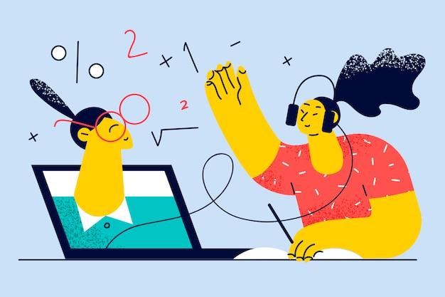 Online onderwijs, ontmoeting op afstand tijdens pandemisch concept