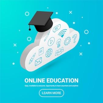 Online onderwijs ontwerpconcept met tekst en knop. banner met isometrische wolk, afstandsstudie pictogrammen en afstuderen cap, geïsoleerd op blauwe achtergrond. flat stijlicoon. e-learning illustratie