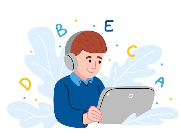 Online onderwijs op afstand. schooljongen thuis studeren met digitale tablet.