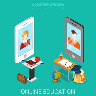 Online onderwijs plat isometrisch
