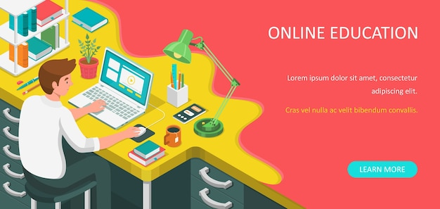 Online onderwijs plat isometrische banner