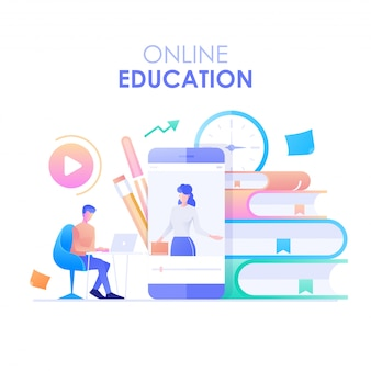 Online onderwijs plat ontwerp. het karakter van een man zit aan een bureau en studeert met een online cursus met een smartphone en boekenachtergrond.