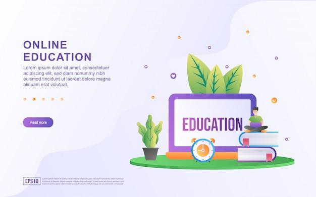 Online onderwijs plat ontwerpconcept.