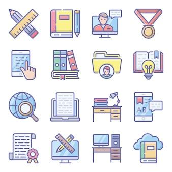 Online onderwijs plat pictogrammen pack