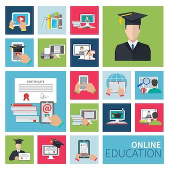 Online onderwijs plat pictogrammen