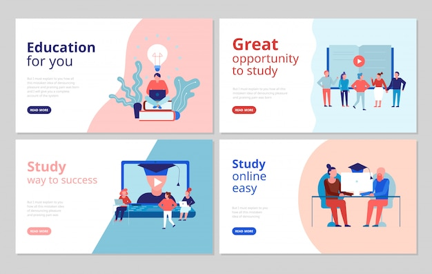 Online onderwijs platte concept banners webpagina met gecertificeerde opleiding hogeschoolcursussen