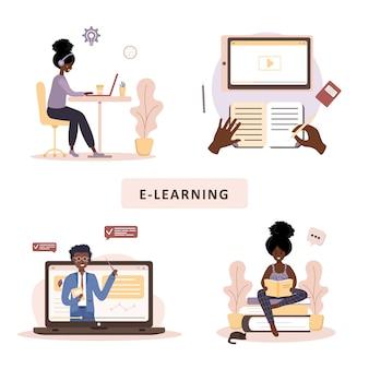 Online onderwijs. platte ontwerpconcept van training en video tutorials. afrikaanse student thuis leren. vectorillustratie voor website, marketingmateriaal, presentatiesjabloon, online reclame.