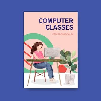 Online onderwijs poster conceptontwerp, folder en reclame voor aquarel