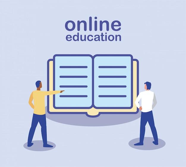 Online onderwijs, staande mensen, boeken op de achtergrond