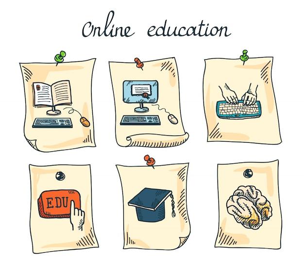 Online onderwijs sticker set