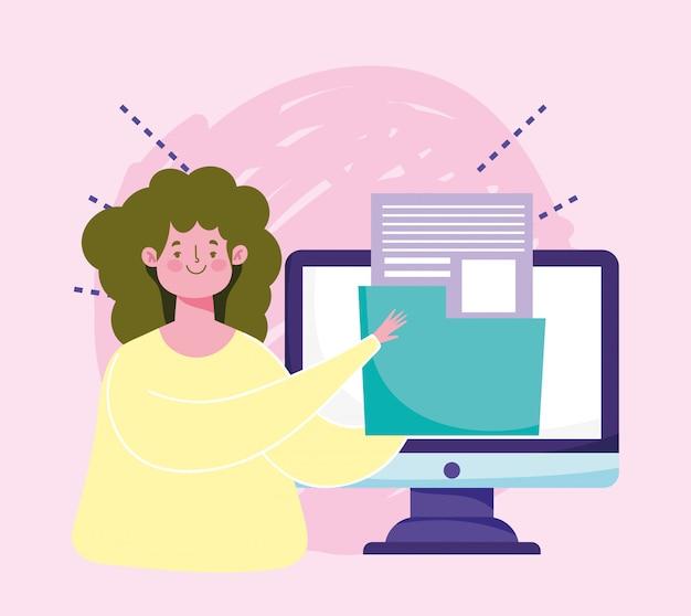 Online onderwijs, student computer map archiefgegevens digitale afbeelding